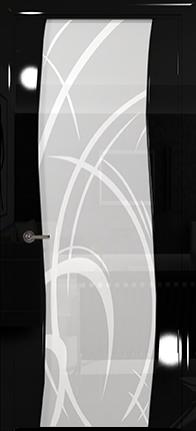 Арт Деко Vatikan Premium Глянец Вэла  черный глянец триплекс кипельно-белый  рисунок с пескоструйной обработкой