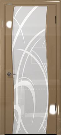 Арт Деко Vatikan Premium Глянец Вэла  бежевый глянец триплекс кипельно-белый рисунок с пескоструйной обработкой