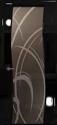 Арт Деко Vatikan Premium Глянец Вэла  черный глянец триплекс мокко рисунок с пескоструйной обработкой