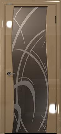 Арт Деко Vatikan Premium Глянец Вэла  бежевый глянец триплекс мокко рисунок с пескоструйной обработкой