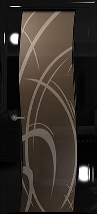 Арт Деко Vatikan Premium Глянец Вэла  черный глянец триплекс тонированный рисунок с пескоструйной обработкой