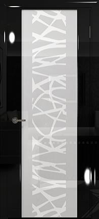 Арт Деко Vatikan Premium Глянец Спациа-3  черный глянец триплекс кипельно-белый с рисунком