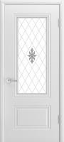 Эмилия Аккорд ПО эмаль белая стекло белое матовое с рисунком