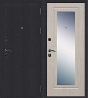 Стальная дверь Стандарт Антик Серебро Зеркало беленый дуб