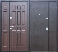 Стальная дверь двухстворчатая Йошкар венге