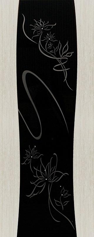 Орион Грация ПО беленый дуб стекло черный триплекс с элементами художественного матирования