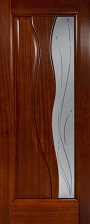 Орион Иллюзион ПО красное дерево стекло белое матовое с элементами художественной резки