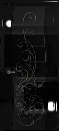 Арт Деко Vatikan Premium Глянец Вэла  черный глянец триплекс черный с рисунком Альтеза