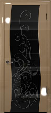 Арт Деко Vatikan Premium Глянец Вэла  бежевый глянец триплекс черный с рисунком Альтеза