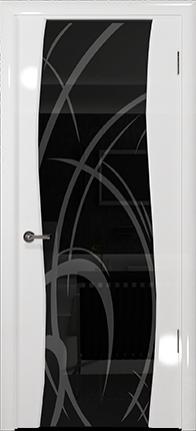Арт Деко Vatikan Premium Глянец Вэла белый глянец триплекс черный рисунок с пескоструйной обработкой
