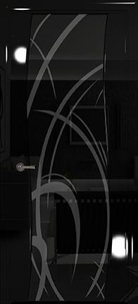 Арт Деко Vatikan Premium Глянец Вэла  черный глянец триплекс черный с рисунком