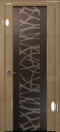 Арт Деко Vatikan Premium Глянец Спациа-3  бежевый глянец триплекс мокко с рисунком Чиза