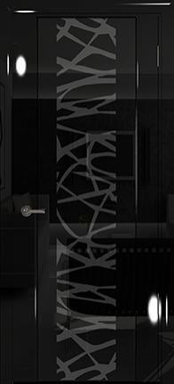Арт Деко Vatikan Premium Глянец Спациа-3  черный глянец черный триплекс тонированный с рисунком Чиза