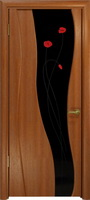 """Арт Деко Стайл Селена красное дерево триплекс черный с фьюзингом """"Маки"""""""