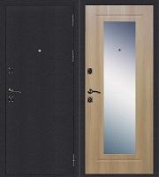 Стальная дверь Стандарт Антик Серебро Зеркало дуб золотистый