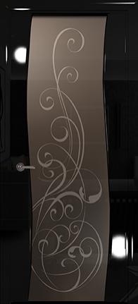 Арт Деко Vatikan Premium Глянец Вэла  черный глянец черный глянец триплекс мокко с рисунком Альтеза