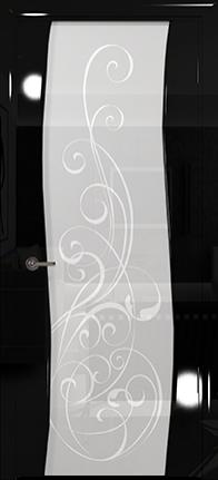 Арт Деко Vatikan Premium Глянец Вэла  черный глянец триплекс кипельно-белый с рисунком Альтеза