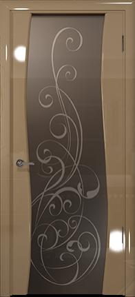 Арт Деко Vatikan Premium Глянец Вэла  бежевый глянец триплекс мокко с рисунком Альтеза