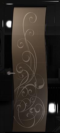 Арт Деко Vatikan Premium Глянец Вэла  черный глянец триплекс тонированный с рисунком