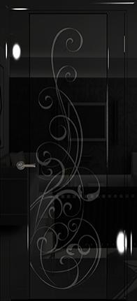 Арт Деко Vatikan Premium Глянец Спациа-3  черный глянец триплекс черный с рисунком Альтеза