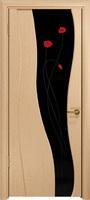 """Арт Деко Стайл Селена беленый дуб триплекс черный с фьюзингом """"Маки"""""""