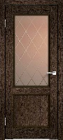 Velldoris Classico 2V ПО мокка стекло с пескоструйным рисунком ромб бронза