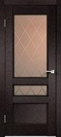 Velldoris Classico 3V ПО дуб черный стекло с пескоструйным рисунком ромб бронза