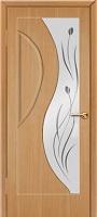 Бригантина Стелла ПО дуб стекло белое матовое с пескоструйным рисунком