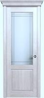 Status Classic 521 дуб белый стекло алмазная гравировка «Итальянская решетка»