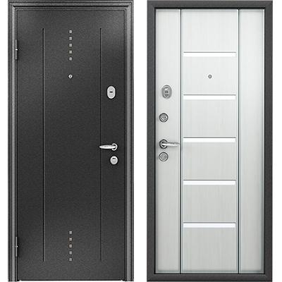 Стальная дверь Torex SUPER OMEGA 10, RP-2, черный шелк / RS-1, ПВХ Перламутр Белый